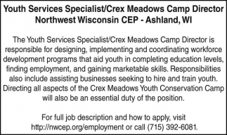 Youth Services Specialist/Crex Meadows Camp Director