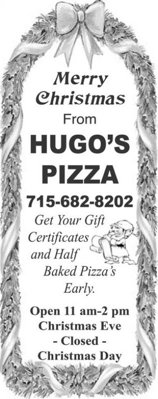 Merry Christmas, Hugo's Pizza, Ashland, WI