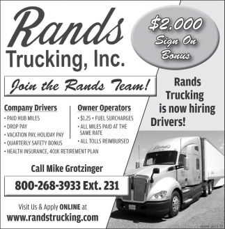 Company Drivers / Owner Operators.
