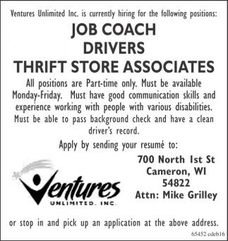 Job Coach, Drivers, Thrift Store Associates