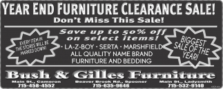 Year End Furniture Clearance Sale!