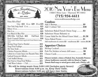 2016 New Year's Eve Menu