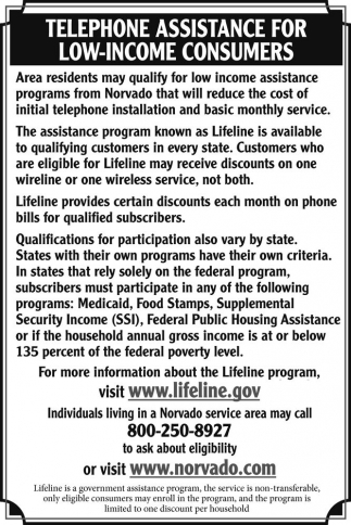 Telephone Assistance for Low-Income Consumers