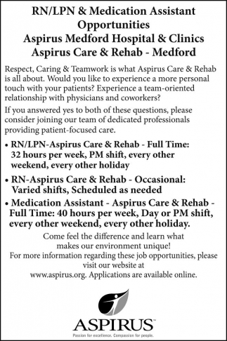 RN/LPN & Medication Assistant Opportunities