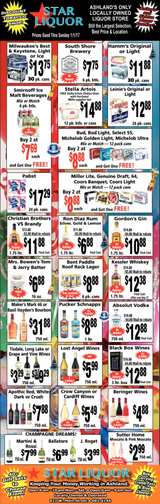 Prices Good Thru Sunday 1/1/17