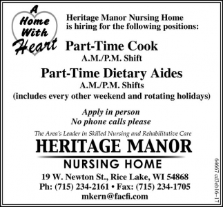Part-Time Cook/Part-Time Dietary Aides
