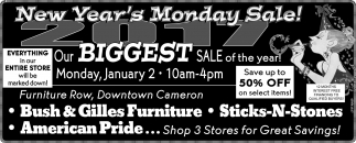 New Year's Monday Sale!