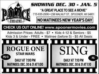 SHOWING DEC. 30 - JAN. 5