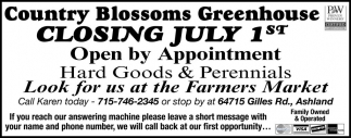 CLOSING JULY 1st
