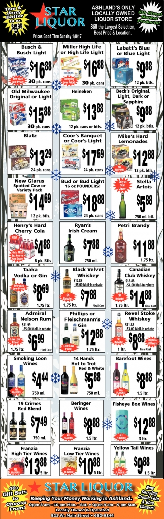 Prices Good Thru Sunday 1/8/17
