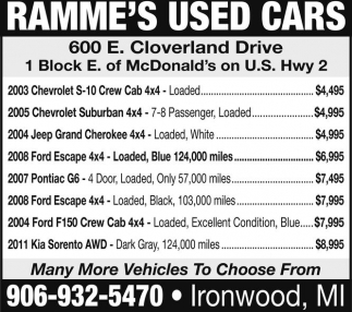 Ramme's Used Cars