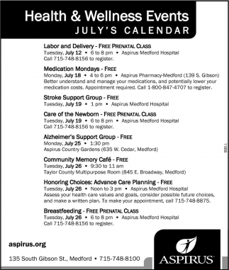 Health and Wellness Event Calendar