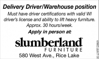 Delivery Driver/Warehouse position