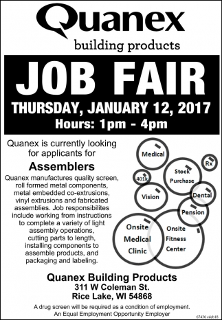 Job fair quanex building products rice lake wi for Quanex building products