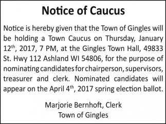 Notice of Caucus