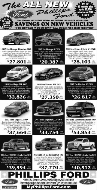 Savings on new vehicles
