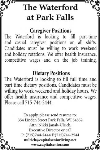 Caregiver Positions / Dietary Position