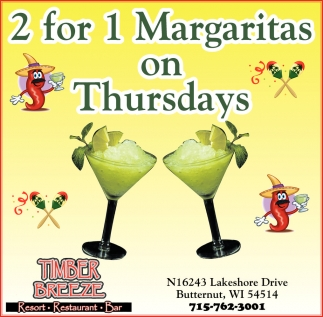 2 for 1 Margaritas on Thursdays