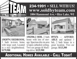 Additional Homes Available - Call Today!