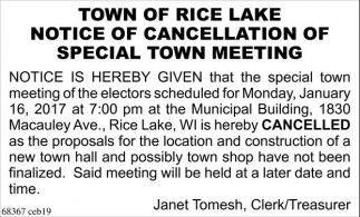 Notice of Cancellation of Special Meeting