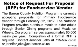 Notice of Request For Proposal (RFP) for Foodservice Vendor