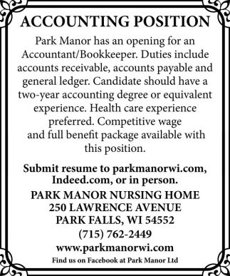 ACCOUNTING POSITION Park Manor Nursing Home