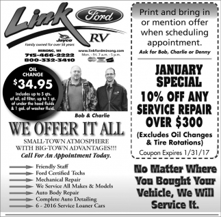 Link Ford Minong >> January Special Link Ford Minong Wi