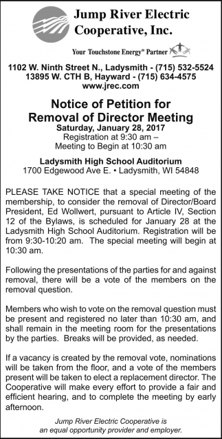 Notice of Petition for Removal of Director Meeting