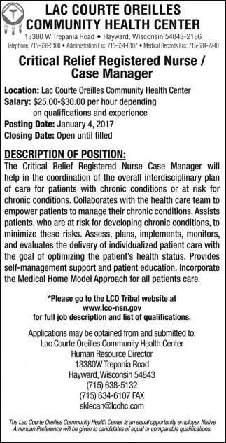 Critical Relief Registered Nurse / Case Manager