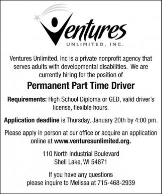 Permanent Part Time Driver
