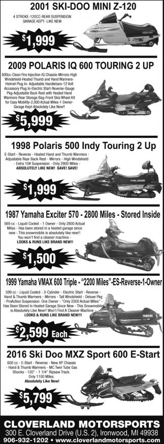 Ski Doo, Polaris, Yamaha