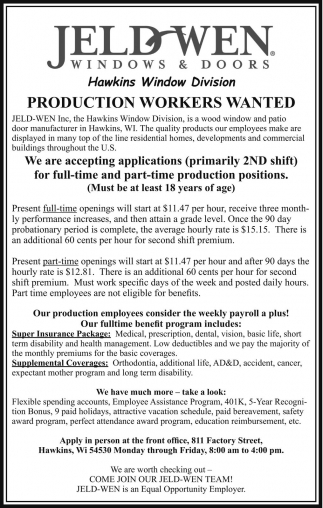 jeld wen windows and doors production workers wanted jeld wen windows and doors jobs ads from price county review