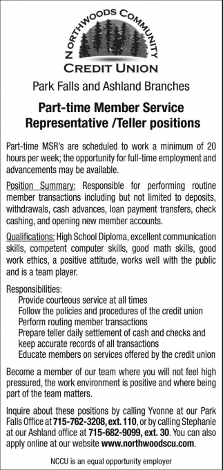Part-time Member Service Representative / Teller positions