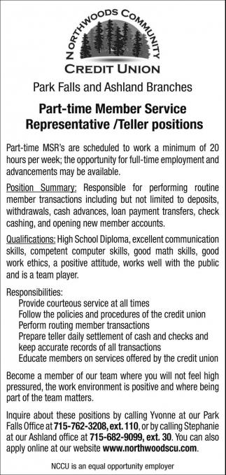 Part-time Member Service Representative / Teller positions