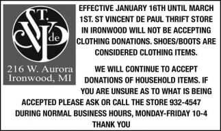 We will continue to accept donations of household items