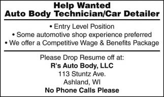 Auto Body Technician / Car Detailer