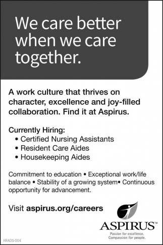 Certified Nursing Assistants, Resident Care Aides, Housekeeping Aides