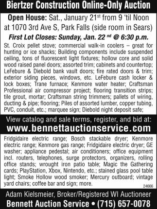 Biertzer Construction Online-Only Auction