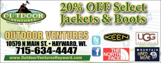 20% off select jackets & boots