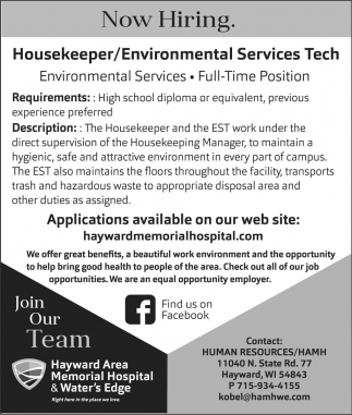 Housekeeper/Environmental Services Tech