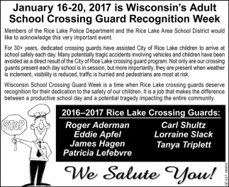 Wisconsin's Adult School Crossing Guard Recognition Week