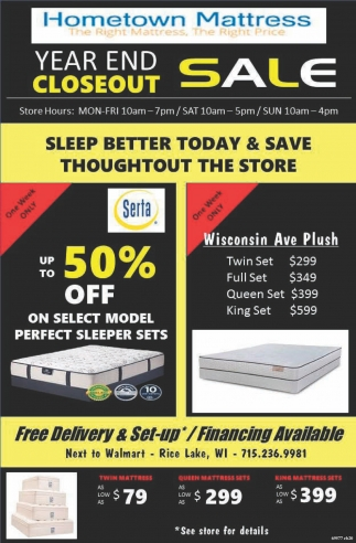 Year end Closeout Sale