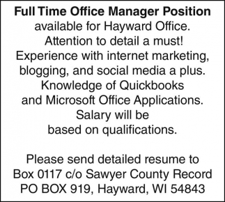 Full Time Office ManagerPosition