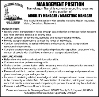 MOBILITY MANAGER / MARKETING MANAGER