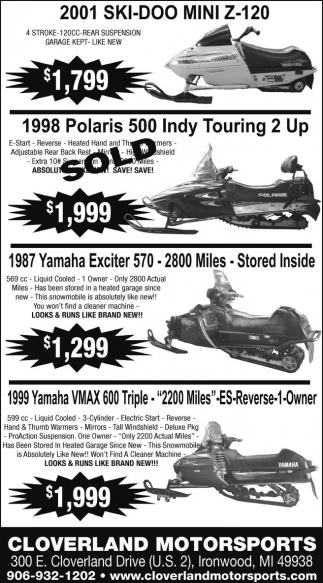 SkiDoo, Polaris,Yamaha