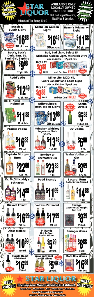 Prices Good Thru Sunday 1/29/17