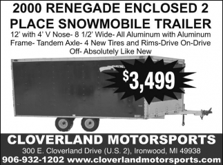 2000 Renegade Enclosed 2 Place Snowmobile Trailer