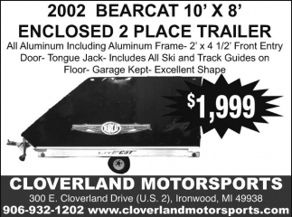 2002 Bearcat 10'x8' Enclosed 2 Place Trailer