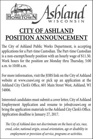 City of AshlandPosition Announcement
