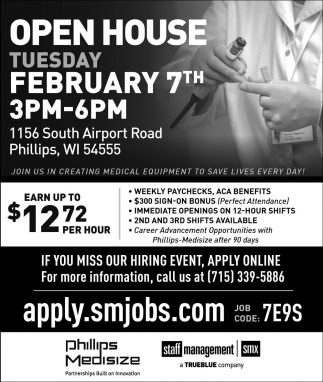 Open House Tuesday February 7th 3pm - 6om